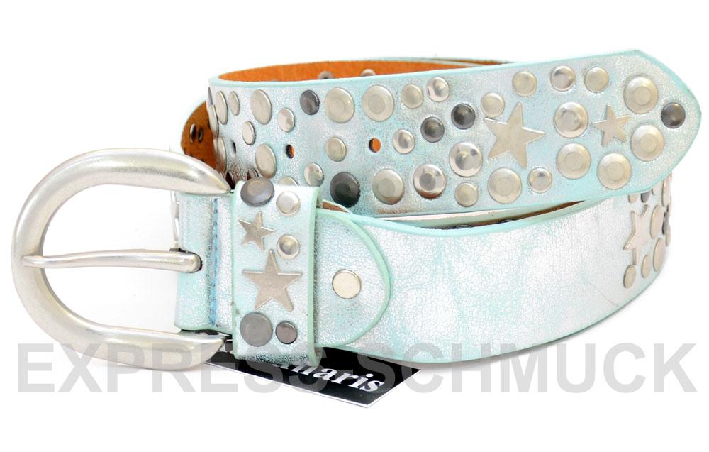 NIETENGURTEL-Damen-Nieten-Sterne-Guertel-ECHT-Leder-XL-Vintage-85-90-95-Belt-NEU