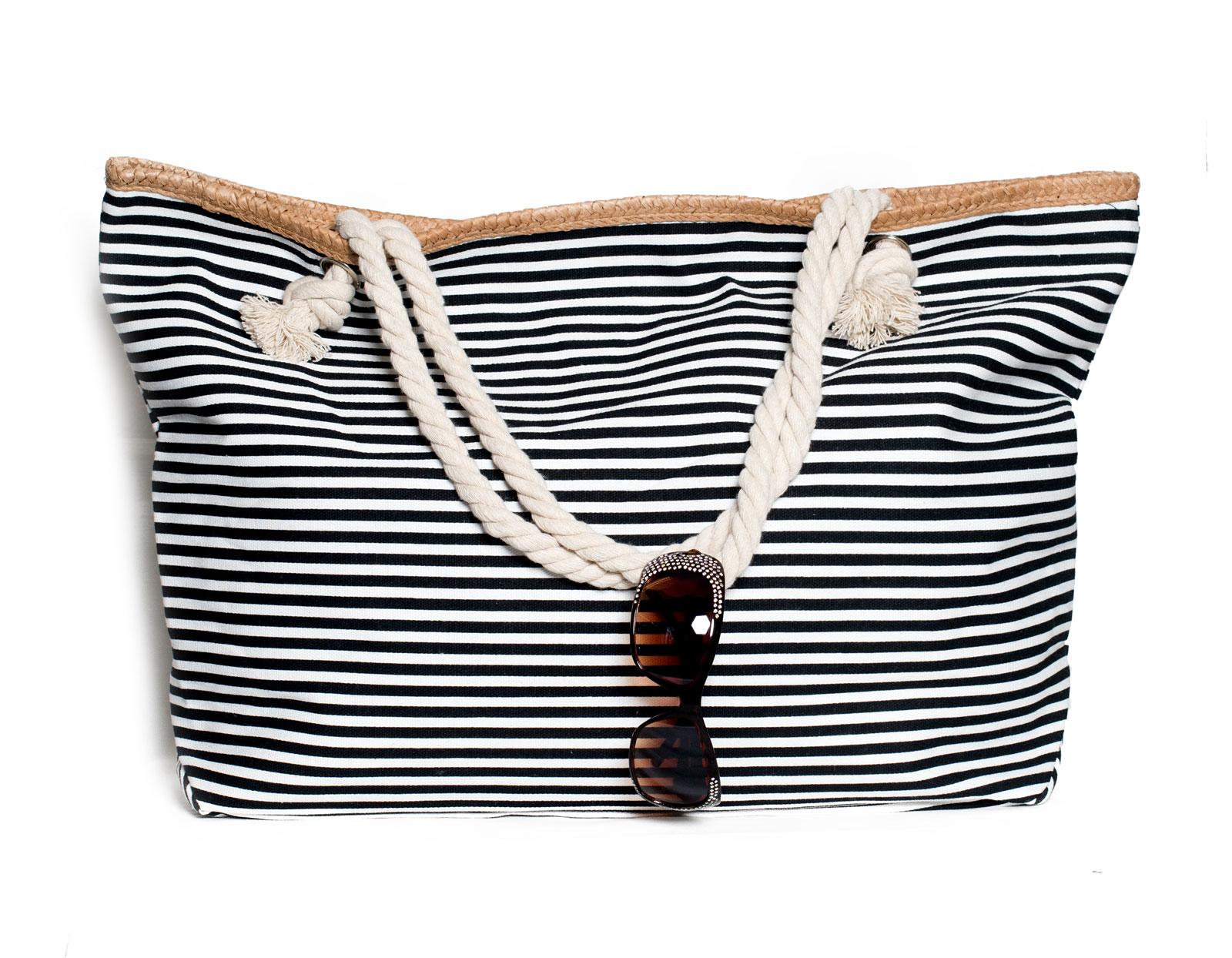 xxl damentasche strandtasche sommer tasche badetasche gestreift schwarz wei neu ebay. Black Bedroom Furniture Sets. Home Design Ideas